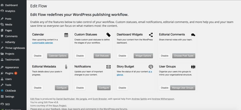 Edit Flow plugin, wordpress editor plugin