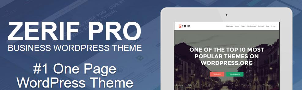 Zerif Pro WordPress theme for site designing