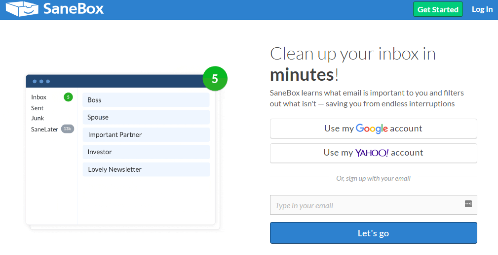 SaneBox Gmail Plugin