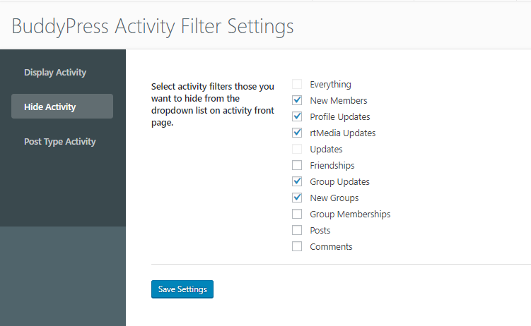 BuddyPress Activity Filter Plugin