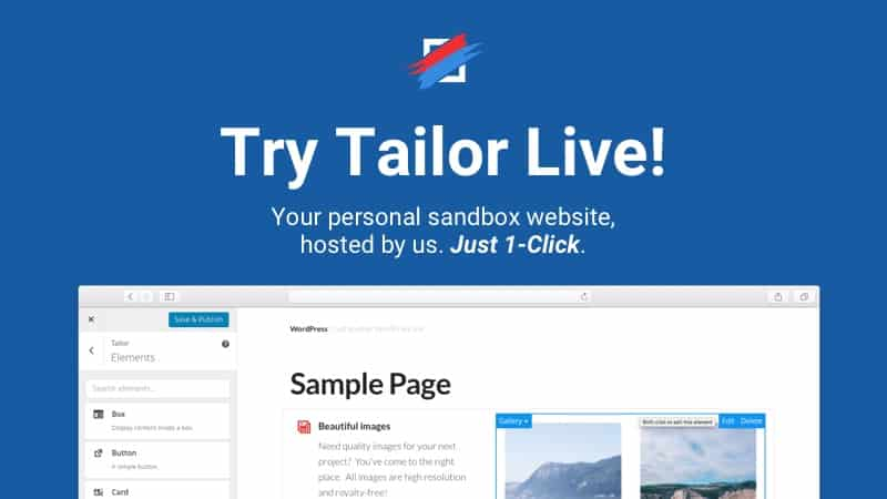 try tailor wordpress page builder live