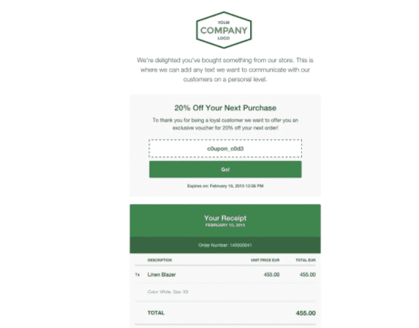 custom email receipt