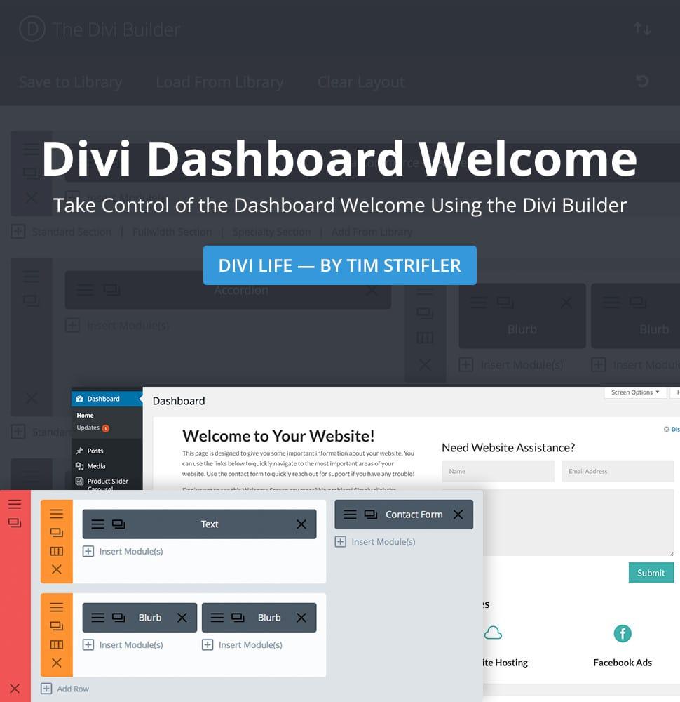 Divi Dashboard Welcome
