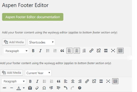 products footer editor