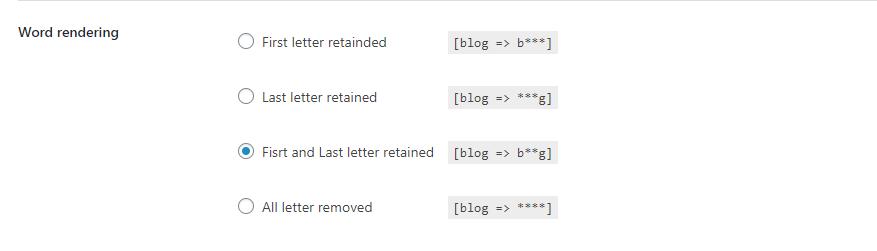 BuddyPress Profanity word render settings