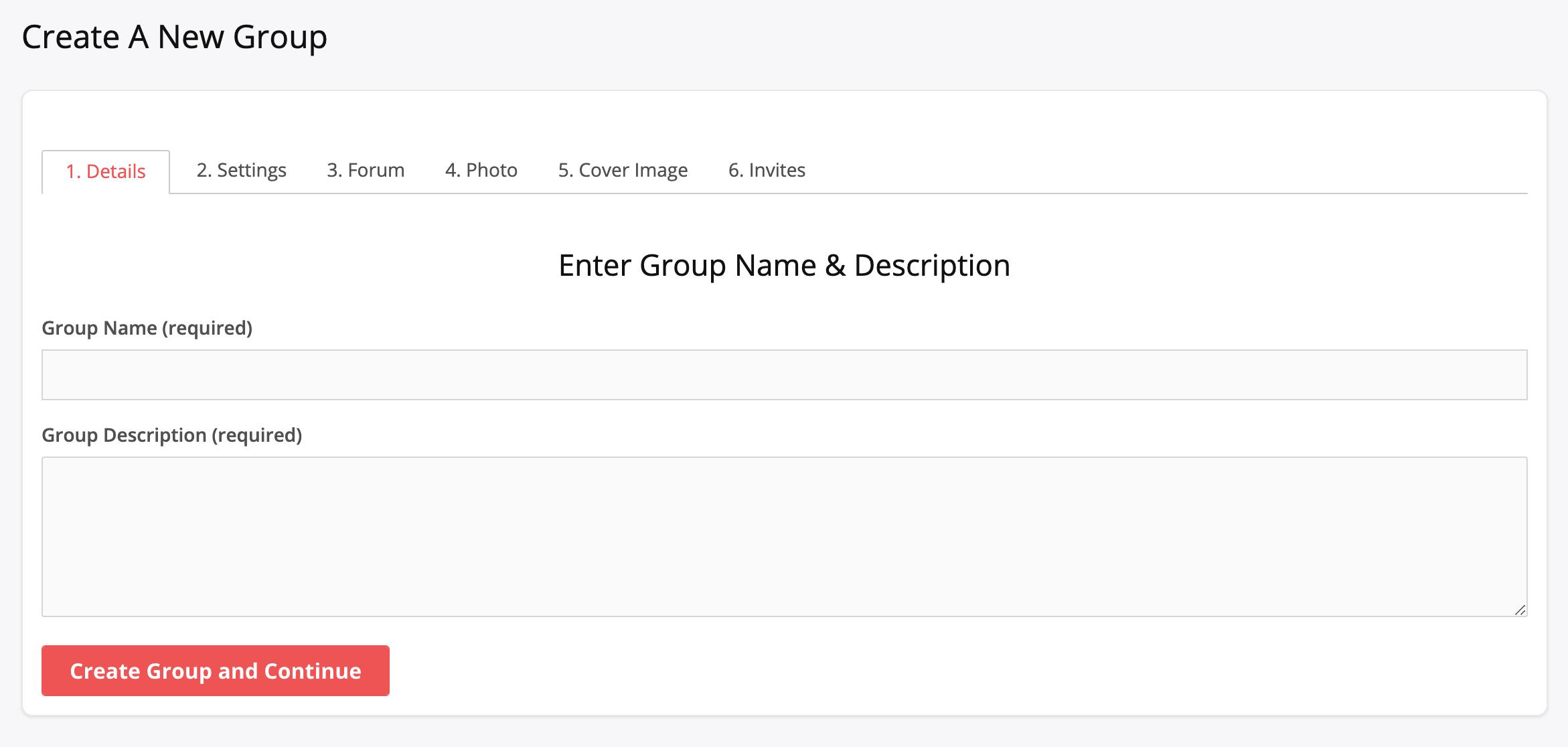 BuddyPress Group Creation Page