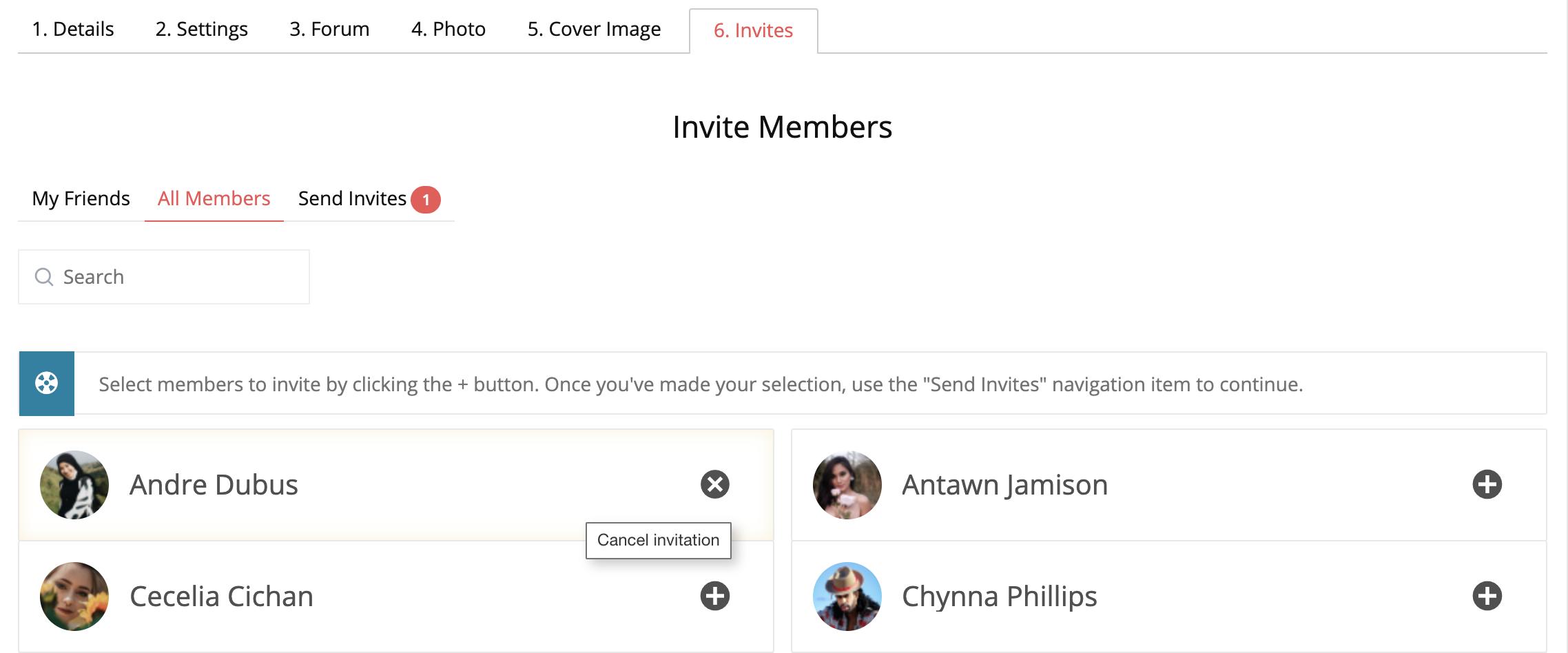 BuddyPress Group Invite