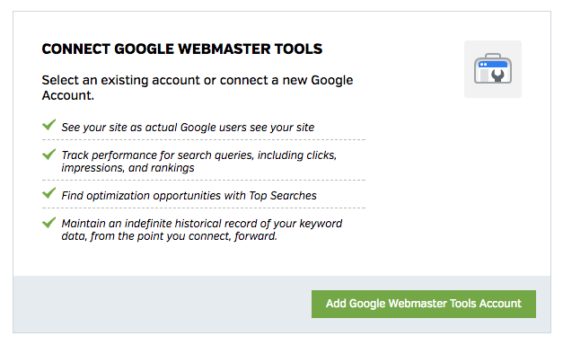 Connect with Google Webmaster Tools account