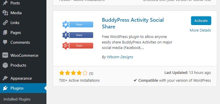 activity Social share plugin