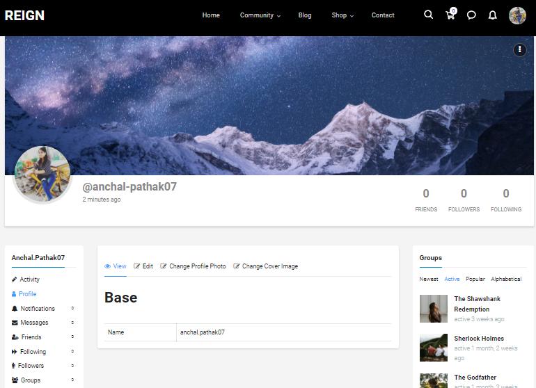 member header layout