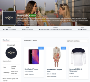 WordPress Vendor Store Page