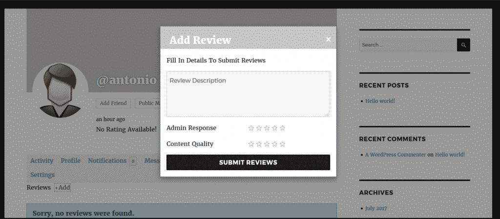 BuddyPress User Profile Reviews Plugin