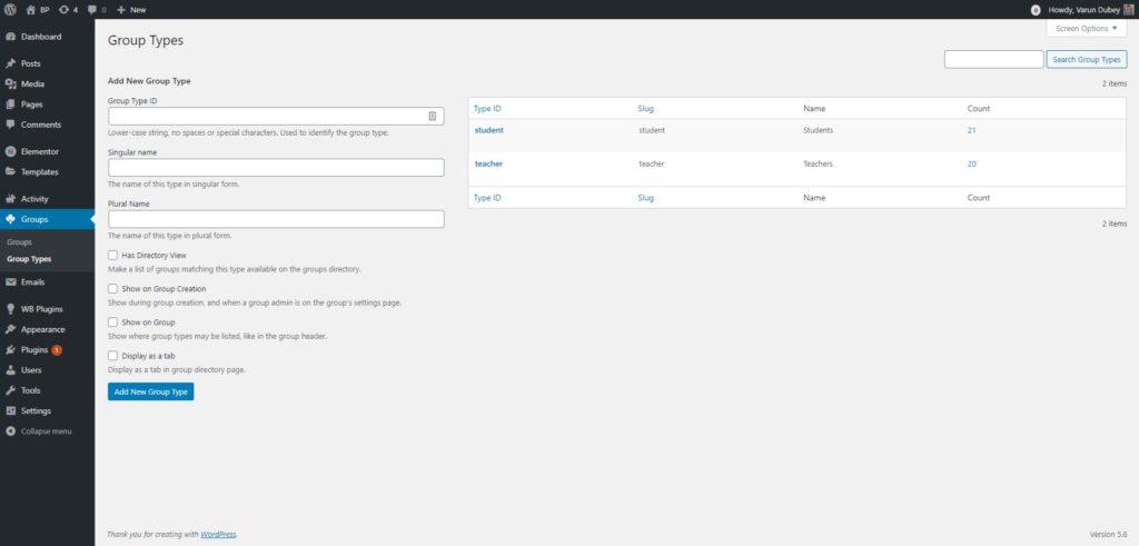 BuddyPress Create Group Type