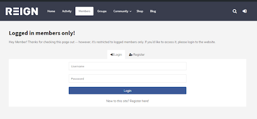 BuddyPress Logged In members Only