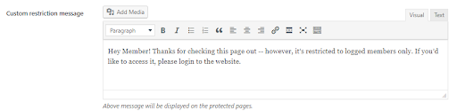 Message For WordPress Logout Users on Page,Private Community