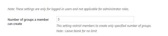 No of BuddyPress Groups limit