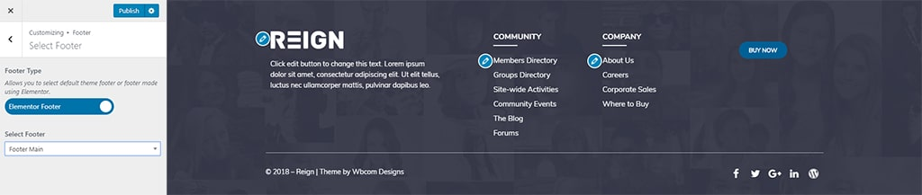 Select Footer