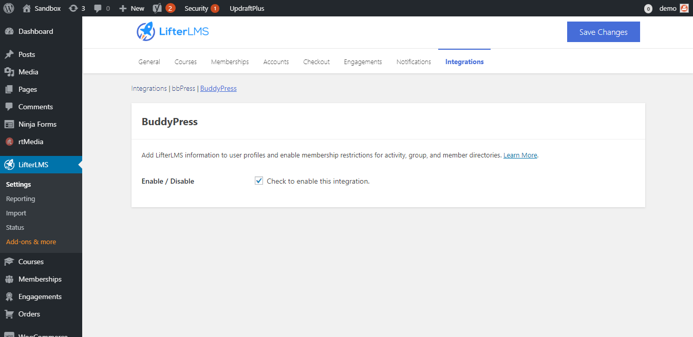 LifterLMS Settings ‹ Sandbox — WordPress - Wbcom Designs