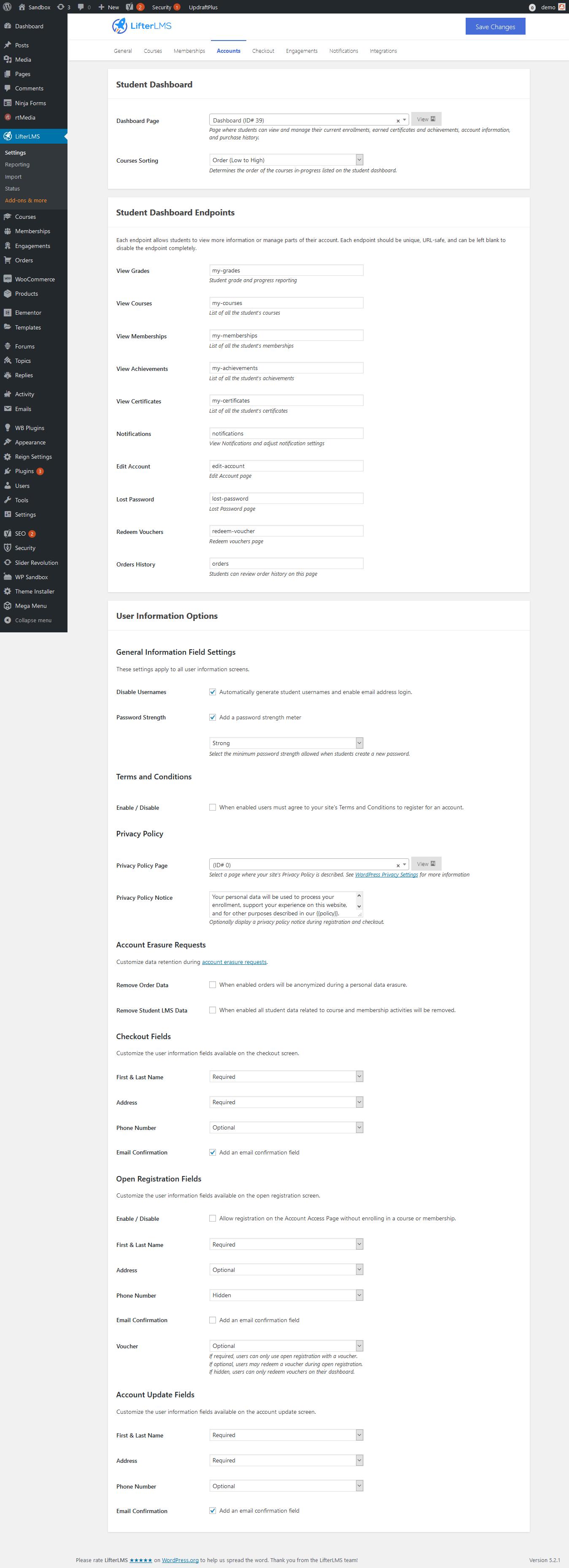 Screenshot 2019 06 15 LifterLMS Settings ‹ Sandbox — WordPress1 - Wbcom Designs
