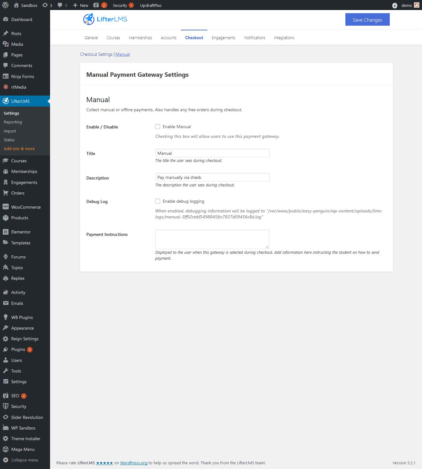 Screenshot 2019 06 15 LifterLMS Settings ‹ Sandbox — WordPress3 - Wbcom Designs