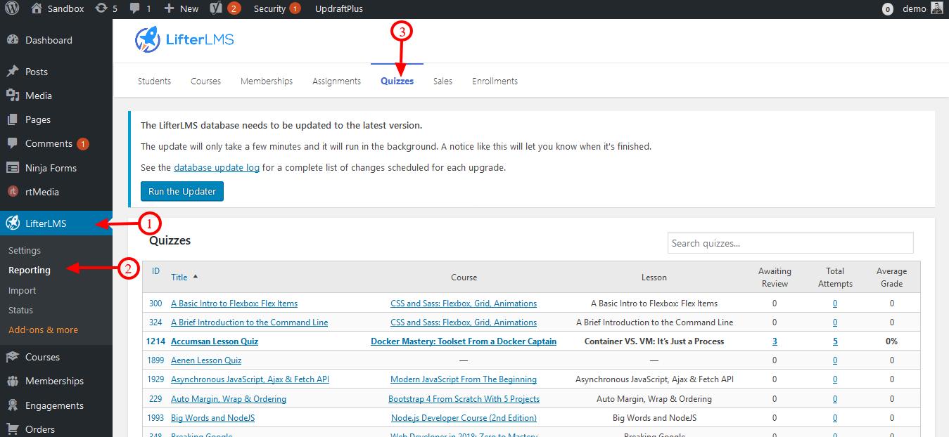 LifterLMS Reporting ‹ Sandbox — WordPress