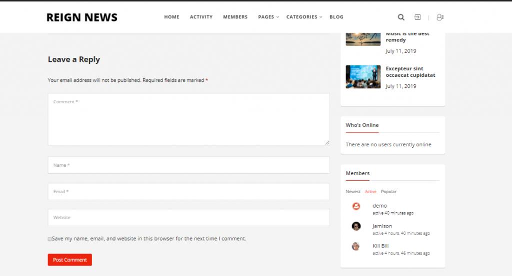Social News Website Comments