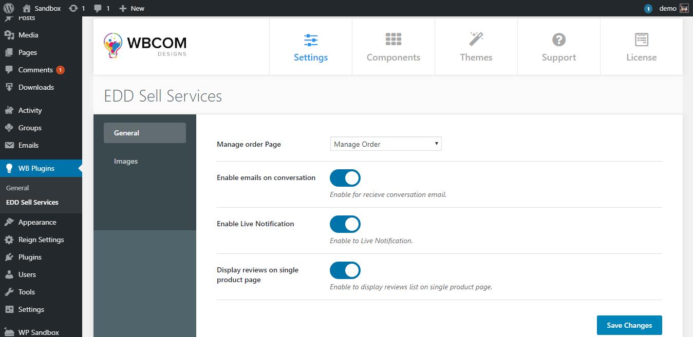 edd general settings - Wbcom Designs