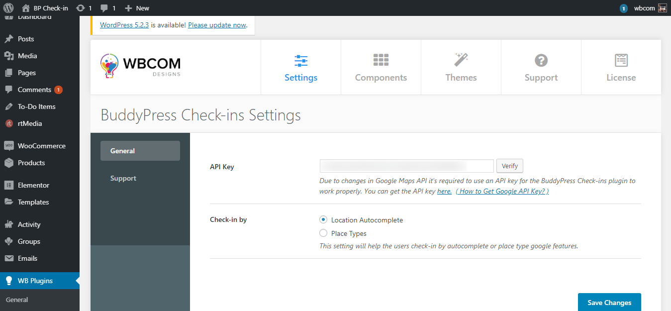 BuddyPress Check ins Settings - Wbcom Designs
