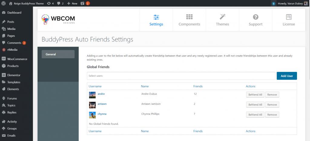 BuddyPress Auto Friends Setting Page ‹ Reign BuddyPress Theme — WordPress