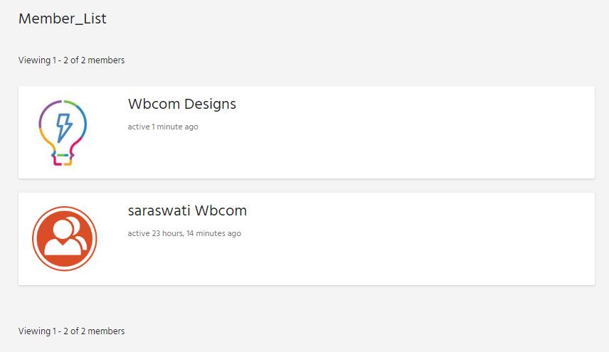 member listinfg - Wbcom Designs