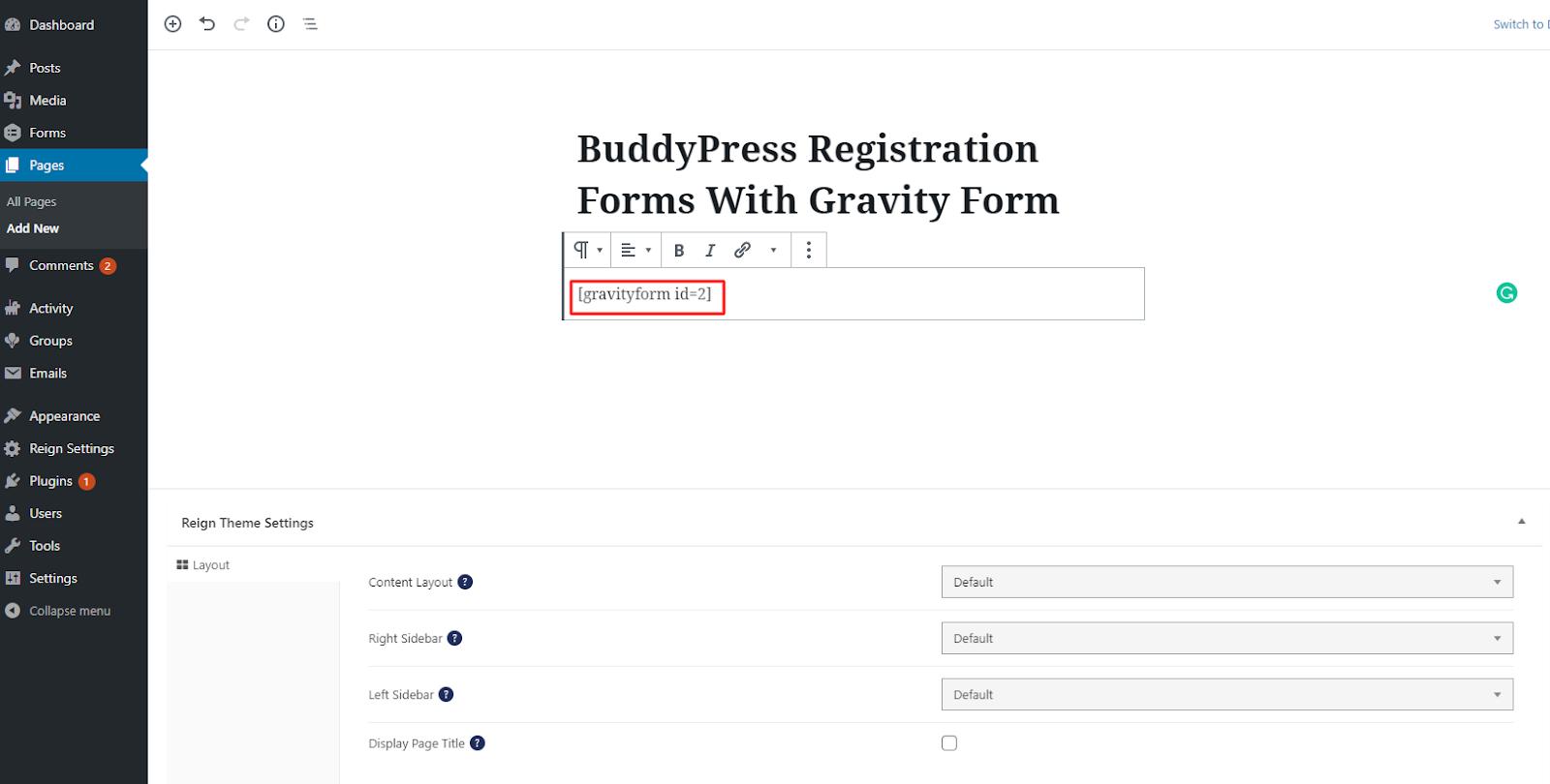 Buddypress Registration Forms shortcode