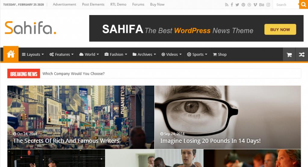newspaper or magazine website