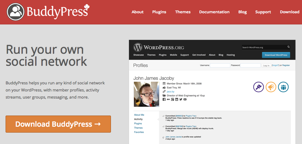 BuddyPress Social networking plugin
