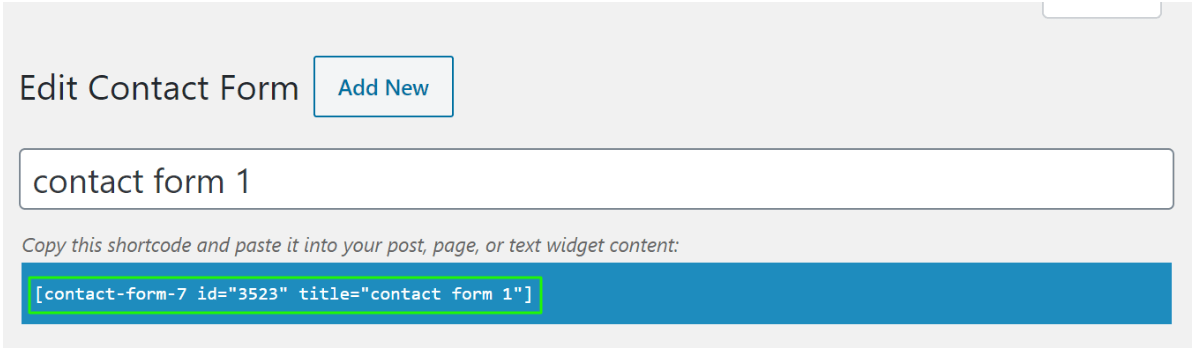 Short code for contact form 7