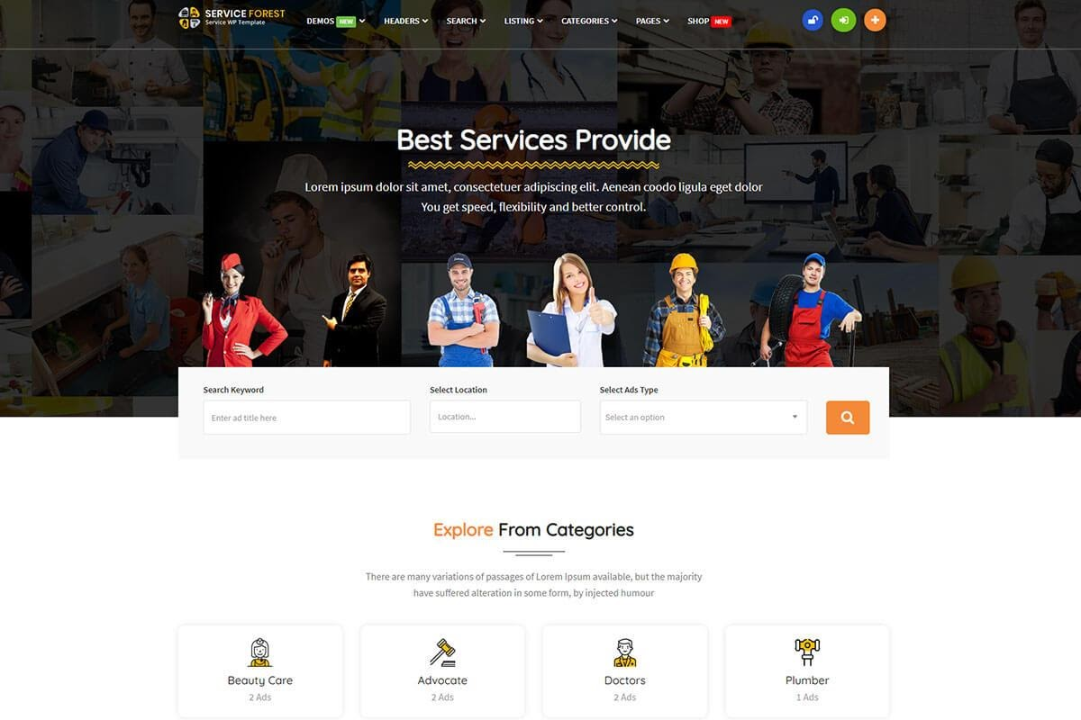 WordPress classified services themes