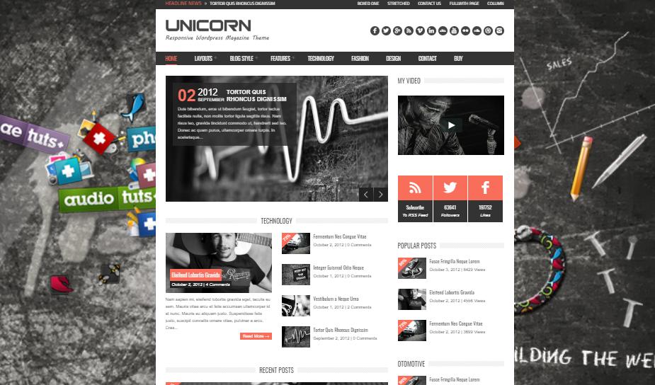 wordpress themes of unicorn for digital agency