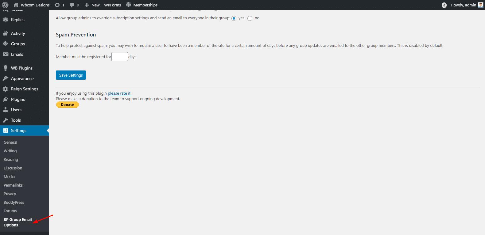 BP Email Plugin