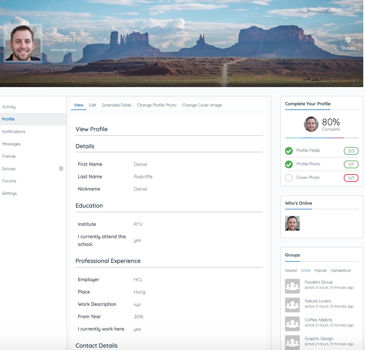buddypress profile more data fields