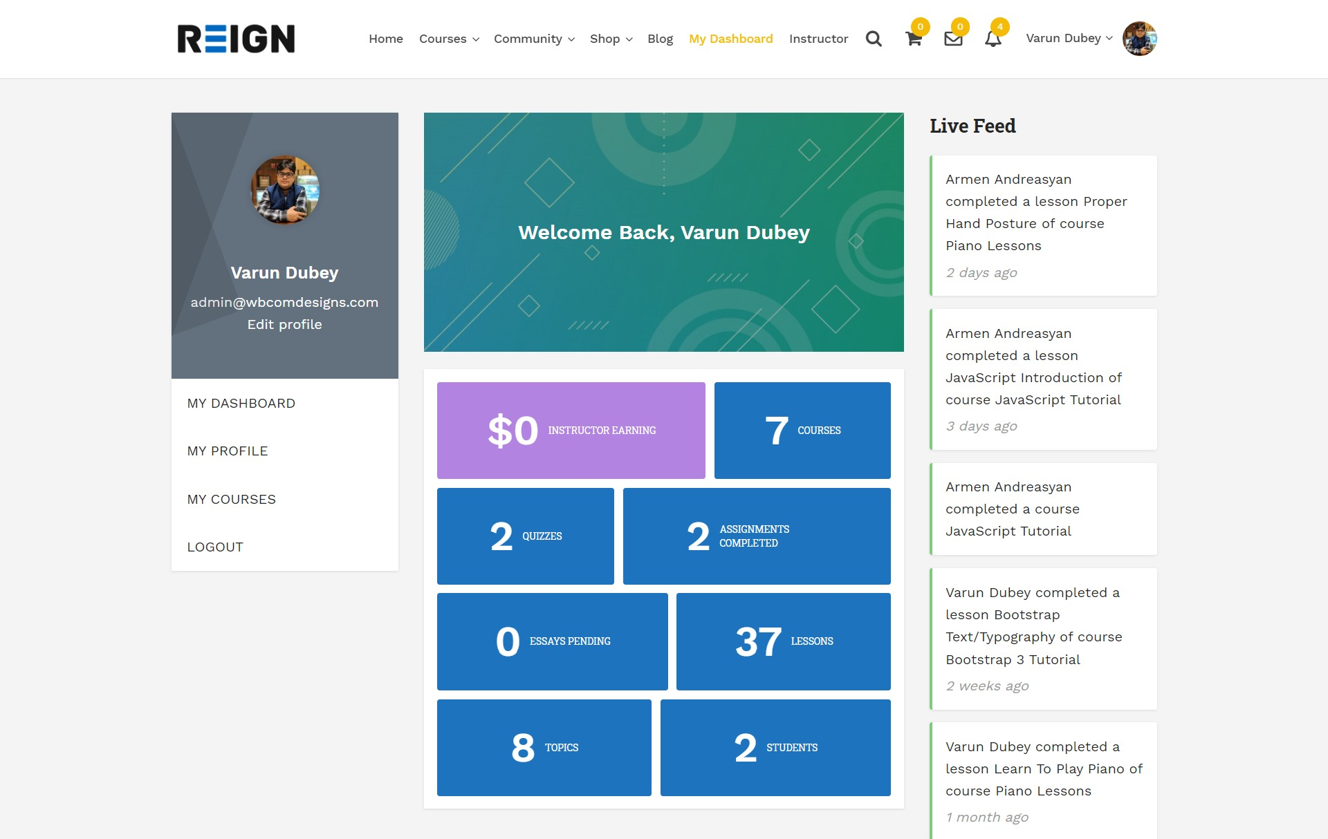My Dashboard Widget Area - Wbcom Designs