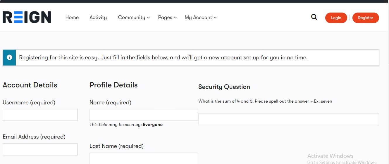 buddpress registration security question