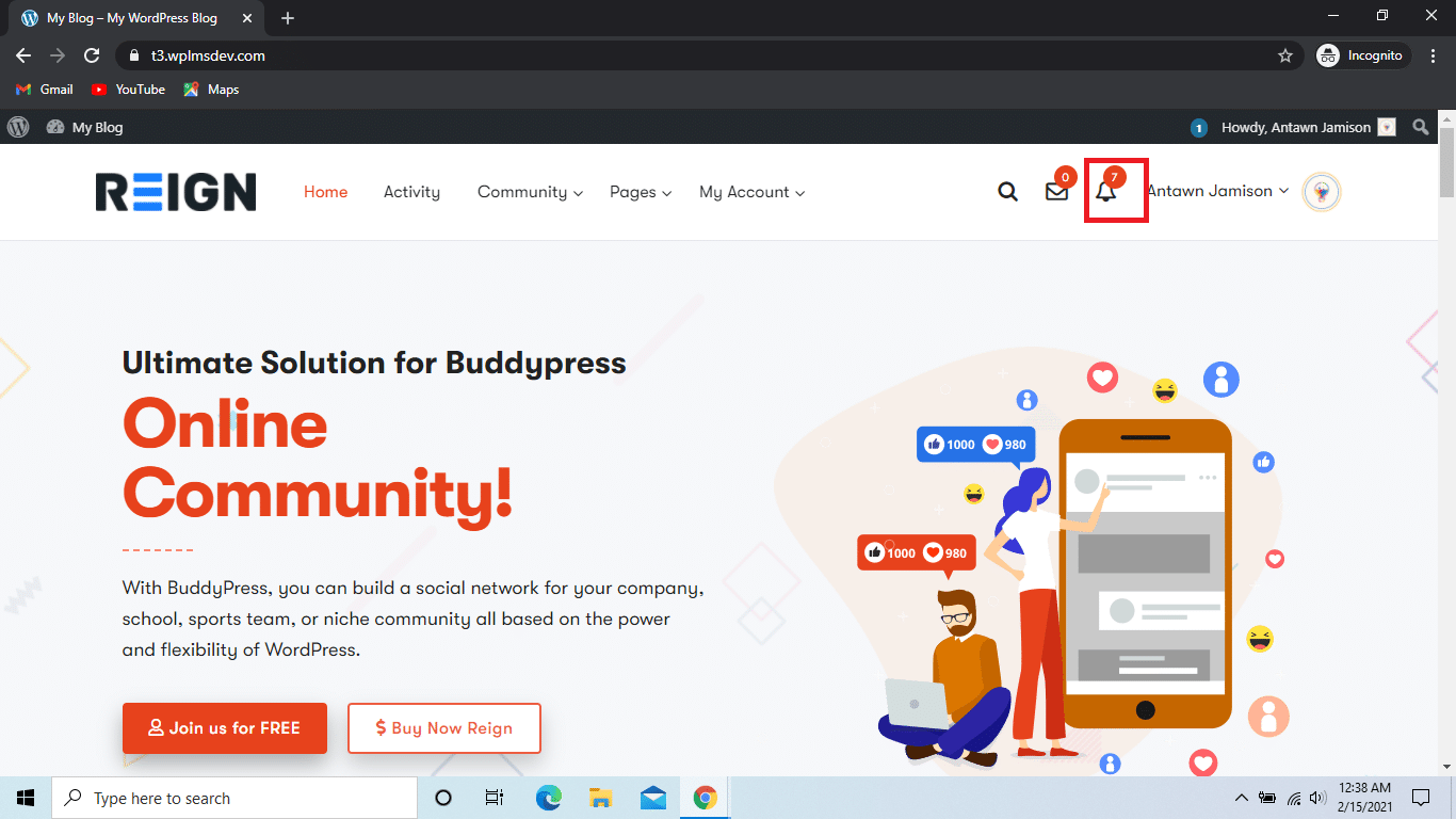 BuddyPress Live Notification