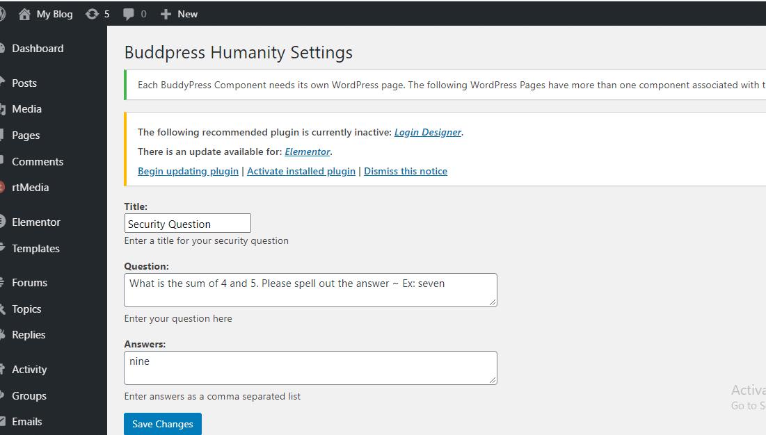 buddypress humanity plugin