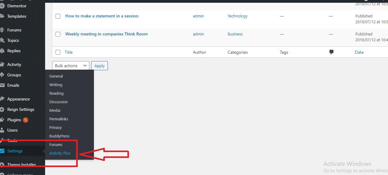Buddypress activity reloaded plugin