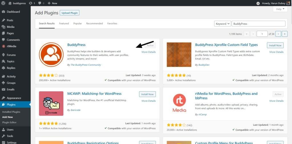 Install BuddyPress Plugin