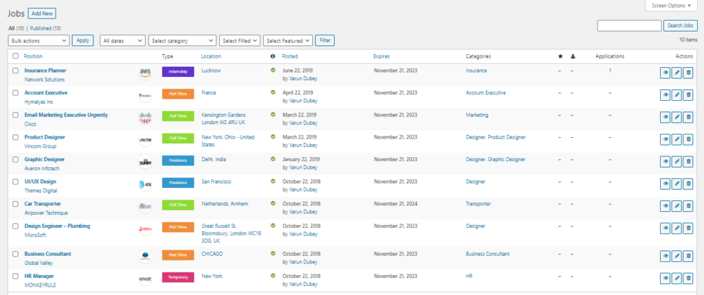 Job application management using Job Manager