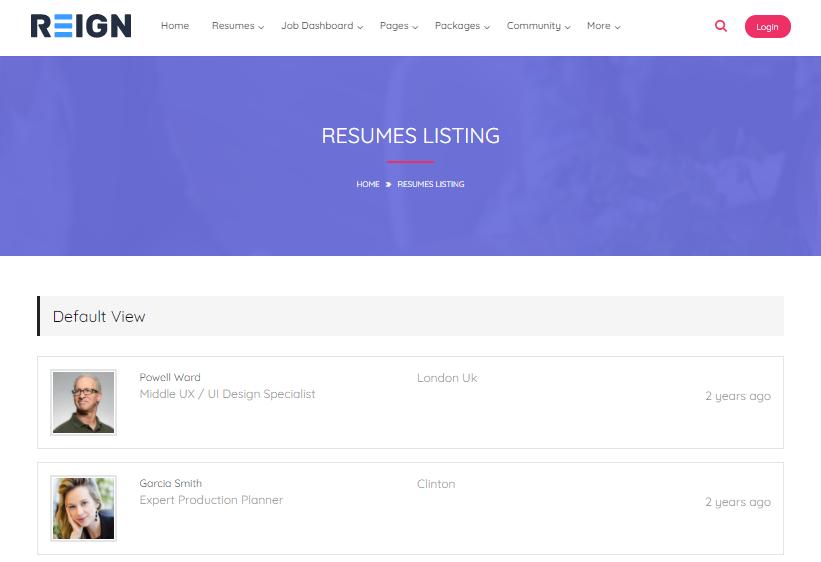 Manage Resume Listings