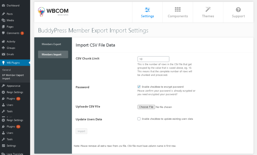 BuddyPress Member Export Import Setting Page ‹ buddypress — WordPress 1 - Wbcom Designs