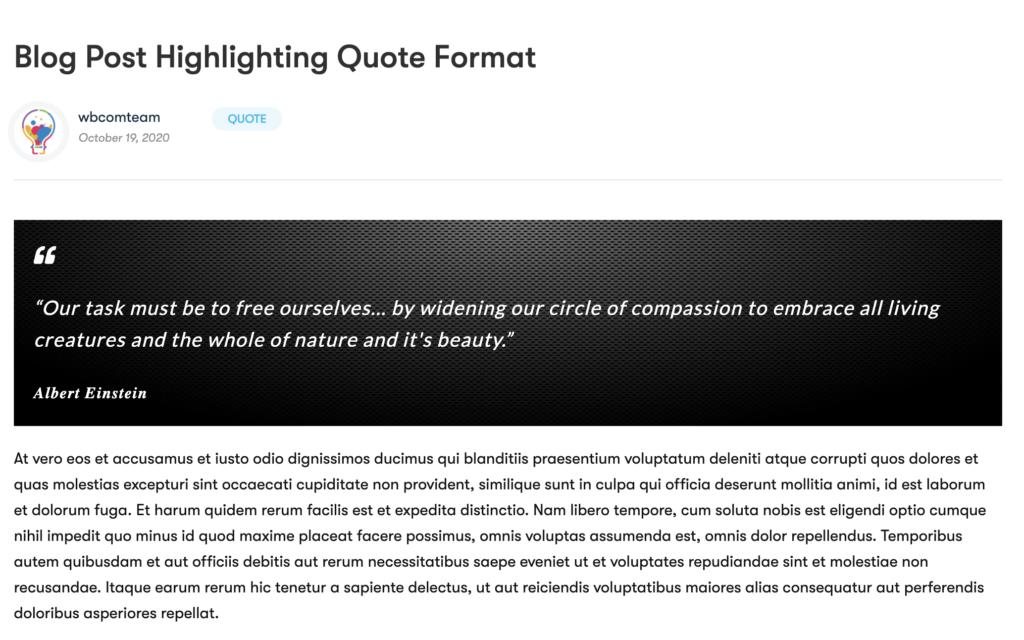 WordPress Quote Post - Wbcom Designs