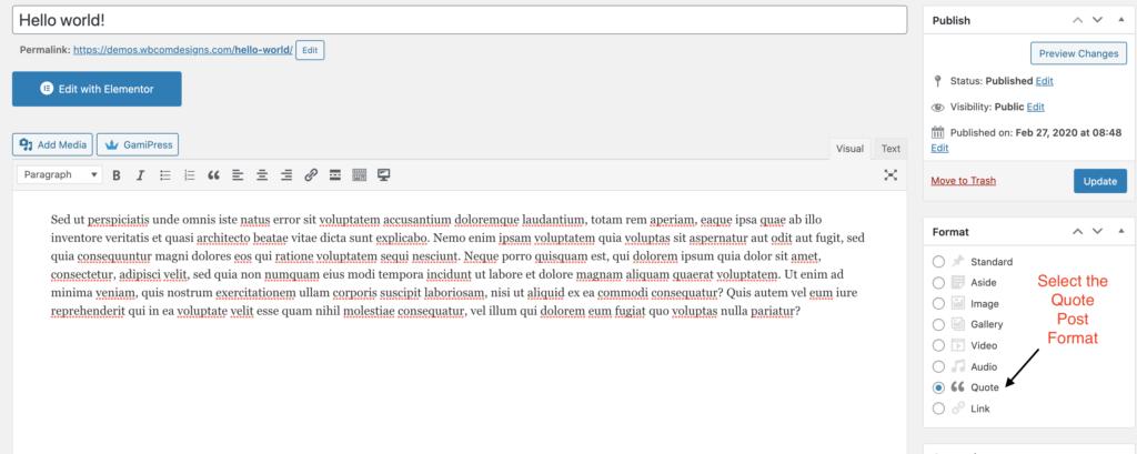 WordPress Quote Post Format