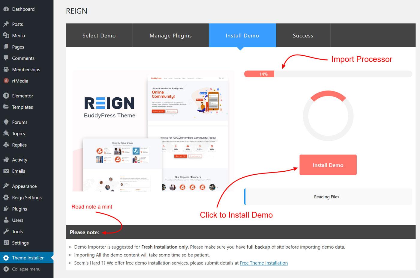demo installer install button - Wbcom Designs